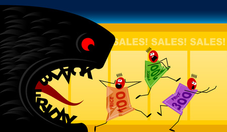 Black Friday and price tags; Monster of Sales devours high prices; Vector cartoon drawing Eps8