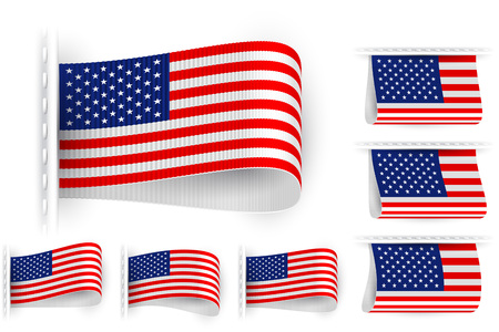 sewn: National state flag of United States of America; Sewn clothing label tag