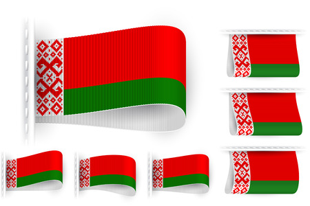 sewn: National state flag of Republic of Belarus; Sewn clothing label tag; Vector set Byelorussia flags Eps10