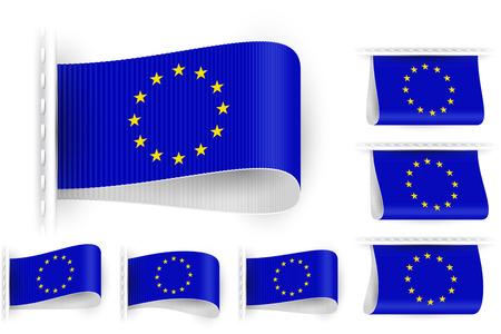 sewn: National state flag of European Union; Sewn clothing label tag; Vector set EU flags Eps10; Blue-white version