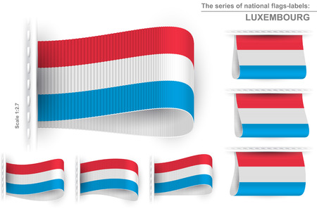 sewn: National state flag of Luxembourg; Sewn clothing label tag Illustration