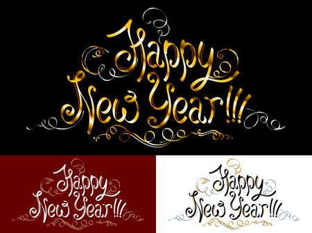 caligraphy: Happy New Year Illustration