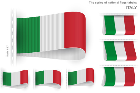 sewn: National state flag of Italy; Sewn clothing label tag