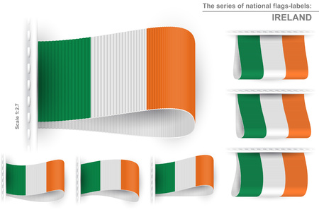 sewn: National state flag of Ireland; Sewn clothing label tag; Vector set flags of Republic of Ireland Illustration