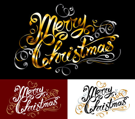 caligraphy: Merry Christmas text; Inscription with a congratulation; Handwritten letters; Hand-drawing of words in the ink style; Lettering in old vintage design with ornate vignettes, monograms and decorations; Golden spiral ribbons; Vector set of greeting phrases Illustration