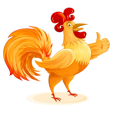 Rooster cartoon character for New Year 2017; Funny colorful Cockerel; Vector drawing Vettoriali