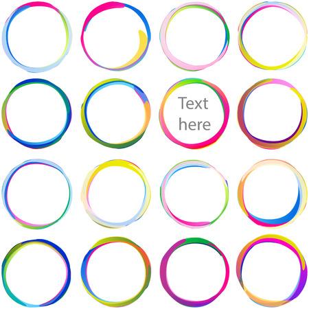 BLOB di testo colorato da cerchi sovrapposti; Archi stendardi multicolori arrotondati, medaglie circolari ed etichette roteante; Le icone di vettore hanno impostato Eps10 Vettoriali
