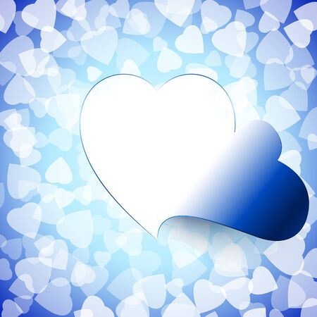 Open door from heart shape cut out on the background of love signs; Access to the heart; Greeting Card for Valentines Day & wedding; Frame of the disclosed heart; Vector background Eps10; Blue version