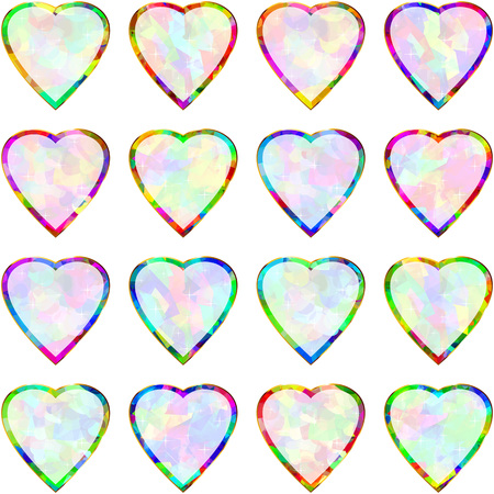 Multicolored banners in the shape of of heart pendants; Frames and borders from symbols of love and romance for the holiday Valentines Day and weddings; Vector set of icons Eps10