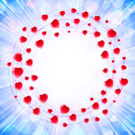 Circles of hearts in a round vortex ring-shape on the background of light rays and confetti from gentle symbols of love ; Greeting card for Valentines Day, weddings and lovely design with a text frame; Vector wallpaper Eps10; Blue version