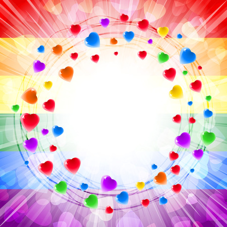 round shape: Circles of hearts in a round vortex ring-shape on the background of light rays and confetti from gentle symbols of love; Greeting card for Valentines Day, weddings and lovely design with a text frame; Vector LGBT flag Eps10; Rainbow version