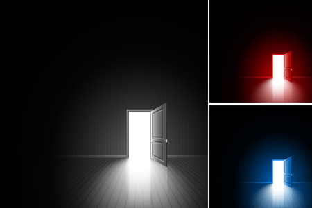 achieving: Open door in a dark room; Bright light outside - illuminates the floor; The concept of only decision, daring choice, exit, finding of freedom; Chance to achieving the goal; Vector background set Eps10