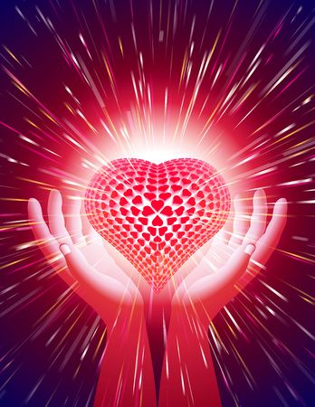 exalt: Heart in open hands with glowing beams; Symbol of amour illuminate around the power of love; Background for a greeting card on the Valentines Day holiday, wedding, and the concept of romantic feelings and attitudes; Letter format proportion; Vector Eps10 Illustration