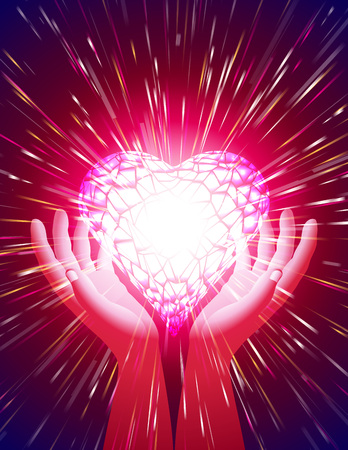 heartily: Heart in open hands with glowing beams; Symbol of amour illuminate around the power of love; Background for a greeting card on the Valentines Day holiday, wedding, and the concept of romantic feelings and attitudes; Letter format proportion; Vector Eps10 Illustration