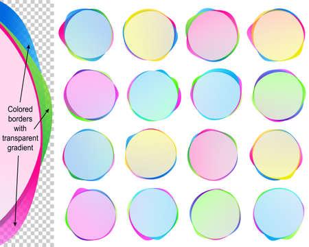 연설 거품 복사본 공간;에서 배너 투명 한 겹치는 색 테두리가있는 텍스트 풍선; 벡터 라운드 프레임의 아이콘을 설정 Eps10 일러스트