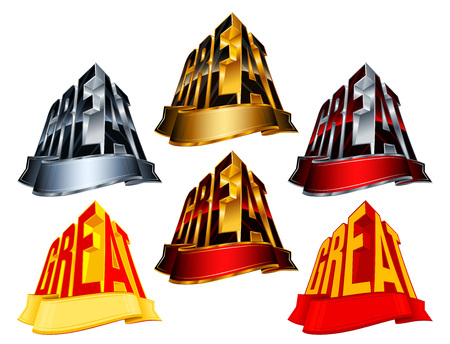 minted: Victory awards with ribbon for winners and leaders; Vector icons set Eps8; Version Great from golden, silver, red, yellow colors
