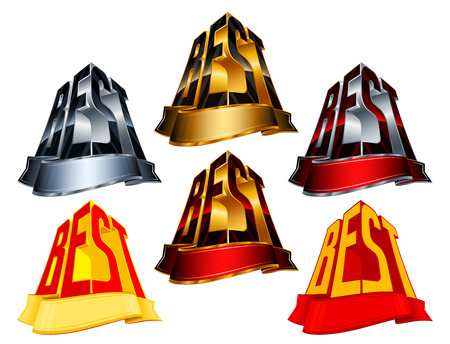minted: Victory awards with ribbon for winners and leaders; Vector icons set Eps8; Version Best from golden, silver, red, yellow colors