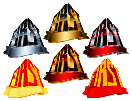 minted: Victory awards with ribbon for winners and leaders; Vector icons set Eps8; Version First from golden, silver, red, yellow colors Illustration