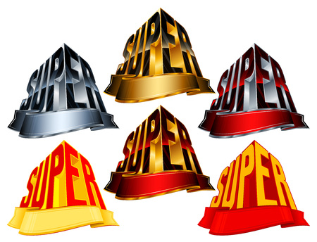 minted: Victory awards with ribbon for winners and leaders; Vector icons set Eps8; Version Super from golden, silver, red, yellow colors