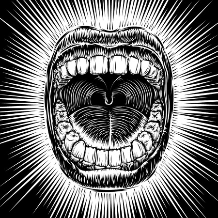 Open mouth with teeth; Screaming shouting singing yawning mouth; Jaw drop; T-shirt print design from vintage tribal tattoo in ink hand drawing style; Vector monochrome black and white background Eps8 Illustration