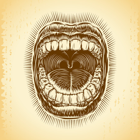bawl: Open mouth with teeth; Screaming shouting singing yawning mouth of woman or man; Jaw drop; T-shirt print design from vintage tribal tattoo in ink hand drawing style; Vector monochrome background Eps8