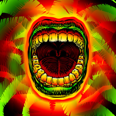 Open mouth with teeth on psychedelic jungle leaves; Screaming shouting singing yawning mouth of person; Jaw drop; Design from ink hand drawing style; Vector background Eps10
