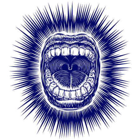 Open screaming mouth with teeth; Shouting singing yawning mouth of woman or man; Jaw drop; T-shirt print design from vintage tribal tattoo in ink hand drawing style; Vector monochrome pattern Eps8 Illustration