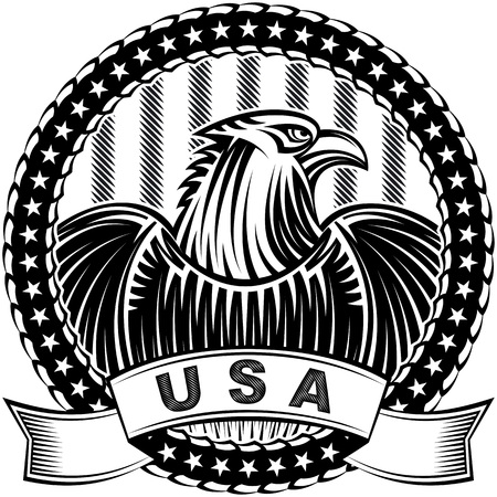 talisman: El águila americana con las barras y estrellas como símbolo del Día de la Independencia de los EEUU el 4 de julio; Tatuaje de vectores de dibujo a mano o de impresión en el estilo de tinta monocromo vintage Vectores