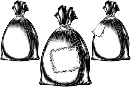Filled sack tied with a rope; A full bag with a note, with a patch; Vector set of icons in ink monochrome vintage hand drawing style for print or tattoo; Copy space for text or logo