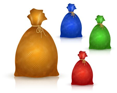Sack from burlap in realistic drawing style; A filled bag tied with a rope; Vector set of yellow, blue, green, red icons of sacs