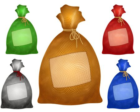 A filled bag is tied with a rope; Textile patch is sewn on a sack from burlap; Vector set of icons of color sacs in realistic drawing style with copy space on a fabric flap