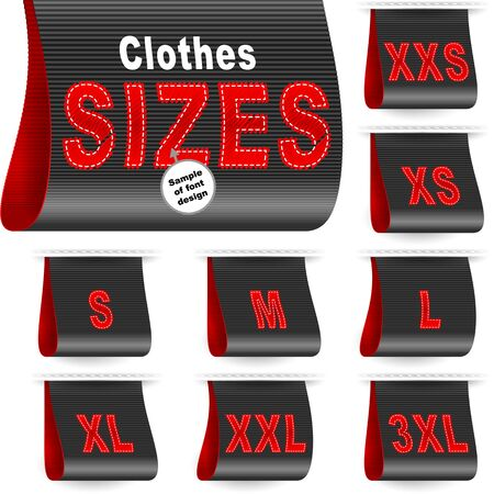 Clothes size labels with embroidered symbols of garment dimension.
