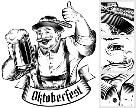 middle: Beer festival Oktoberfest. Man holding beer glass with foamy lager. The thumbs-up gesture. Traditional German Bavarian clothes. A hat Trachtenhut, pants Lederhosen. Vector monochrome ink hand drawing