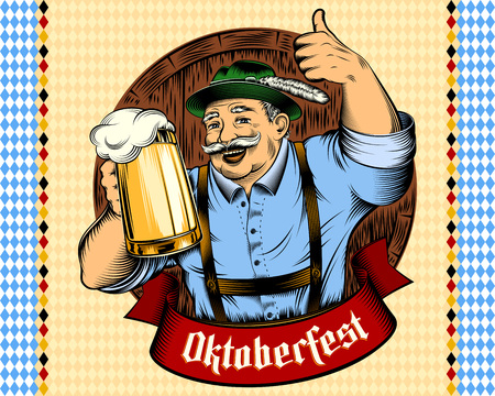 Man holding glass of beer in traditional german bavarian clothes Trachtenhut, Lederhosen on beer festival Oktoberfest. The thumbs-up gesture. Vector ink hand drawing vintage character on background.