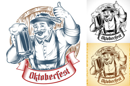 Bavarian Man holding glass of beer. Lettering Oktoberfest on ribbon. Wooden beer barrel. Traditional german clothes hat Trachtenhut, pants Lederhosen. Thumbs-up gesture. Vector ink hand drawing print