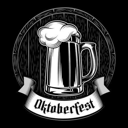 The glass mug of craft beer on the background of wooden barrel. The ribbon with gothic lettering Oktoberfest. Vector print from ink hand drawing stamp in vintage black and white retro style. Dark version