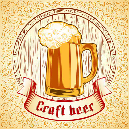 Vector icon of glass mug with craft beer ale on the background of wooden barrel. Gothic lettering on the ribbon. Vector print from ink hand drawing stamp in vintage retro style. Yellow swirl version Ilustração