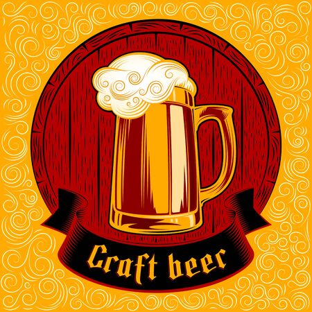 Vector icon of glass of beer with craft ale on the background of wooden barrel. Gothic lettering on the ribbon. Vector print from ink hand drawing stamp in vintage retro style. Yellow swirl version
