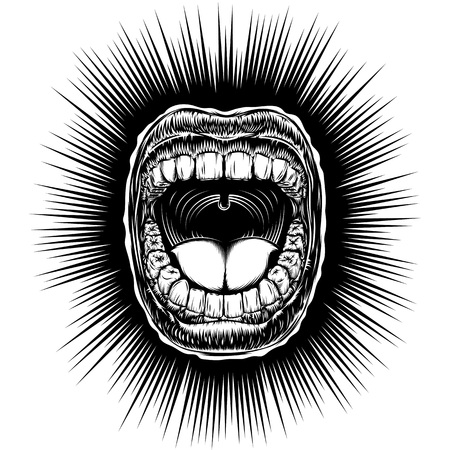 Open mouth with bared teeth and tongue.