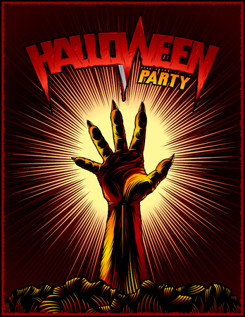 Halloween party poster from raised zombie hand on radiant background for evil spirits holiday. Title lettering Halloween. Vector illustration in ink hand drawing vintage retro style for stamp or print