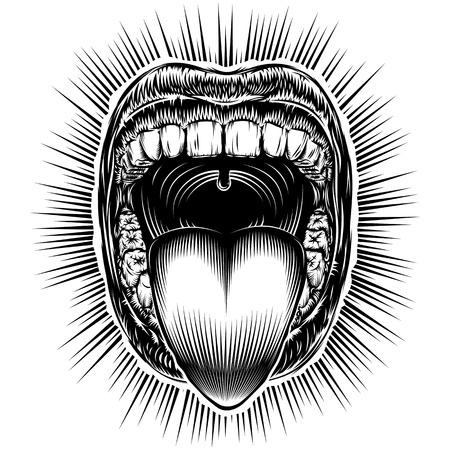 歯と舌を口を開けて。あくびの口の顎のドロップを叫んでください。 叫んでください。ベクトル イラスト スタンプの黒と白のレトロなスタイルを