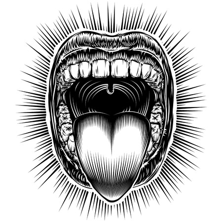 Open mouth with teeth and sticking tongue out. Screaming shouting yawning mouth with jaw drop. Vector illustration in vintage ink hand drawing black and white retro style for stamp, tattoo, print. Illustration
