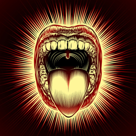 Open mouth with teeth and tongue on radiant beams background in retro stamping hand drawing style. Close-up of shouting screaming mouth with jaw drop. Vector vintage ink illustration of facial gesture Ilustração