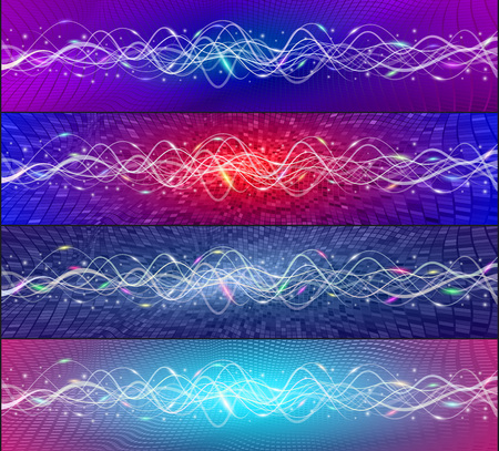 A set of vector banners from futuristic high-tech communication technology of data transfer from wave oscillations. Dynamic moving flows of abstract light flashes and wavy lines on colored backgrounds Ilustração