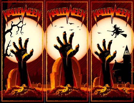 Hand of zombie raised up from grave on a cemetery with an abandoned hut and witch flies on a broomstick on a background with Moon. Card set for Halloween holiday from vector graphic illustration