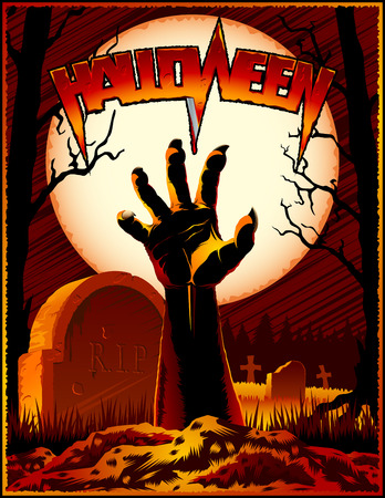 Halloween holiday scene with silhouette of hand of zombie, a grave with tombstone on a cemetery on a background from trees and Moon at night. Title lettering of Halloween. Ilustração