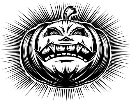 Evil pumpkin with open mouth with tooth and sinister eyes. A cartoon icon of main symbol of Halloween holiday. Vector illustration in a hand drawing retro graphic style for stamping print or tattoo. Ilustração
