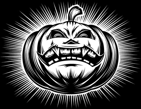 Halloween pumpkin with carved sinister eyes