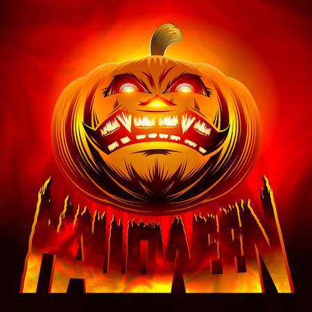 Halloween pumpkin of the background of hellish fire with the lettering title of the holiday Halloween. Vector illustration. Without Mesh.