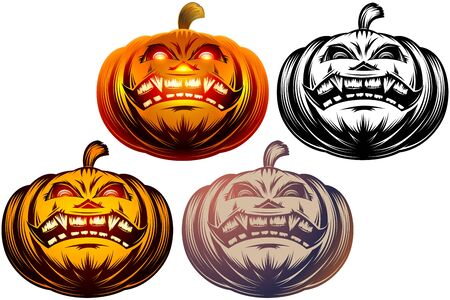 Set of Halloween pumpkin icons with carved eyes and mouth. Vector graphic cartoon illustration. Color, monochrome black and white versions. Ilustração